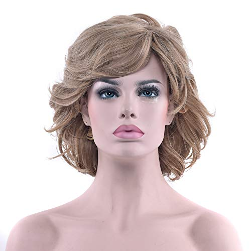 yaning 2 Colors Curly Short Blonde Wigs Cosplay Wigs Synthetic Hair Heat Resistance Hair Party Hair Wig for Women ()