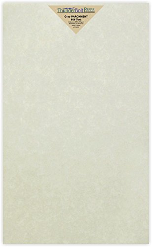 Parchment Bond Paper - 100 Light Gray Parchment 60# Text (=24# Bond) Paper Sheets - 8.5 X 14 inches Stationery Paper Colored Sheets Legal Size - 60 Pound is Not Card Weight - Vintage Colored Old Parchment Semblance