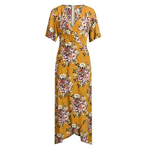 monochef Wrap Maxi Dress Short Sleeve V Neck Floral Flowy Front Slit High Low Women Summer Beach Party Wedding Dress Yellow