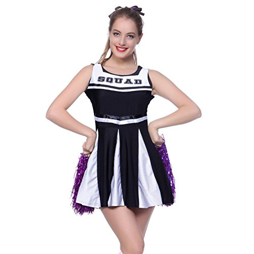 High School Cheerleading Uniforms (Anladia Womens High School Musical Cheerleader Girls Uniform Costume Outfit With Pompoms (L US 10 12, Blue))