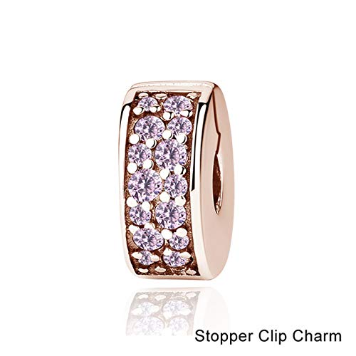 Fashbag Bead Charms for Jewelry Making,Authentic Original 925 Sterling Silver Charm Bead Pendant Spacer Clip Charms Rose Gold Fit Bracelets Women DIY Jewelry Elegance Clip Pink