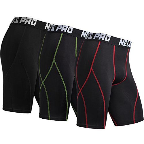 Neleus Men's 3 Pack Sport Running Compression Shorts,6012,Black,Red Stripe,Green Stripe,US M,EU - Shorts Running Short Mens