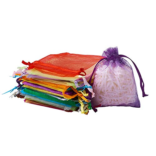 Fashewelry 200Pcs 3.15x3.94 Inch Mixed Colors Drawstring Organza Gift Bags Wedding Party Favor Candy Jewelry Pouch]()