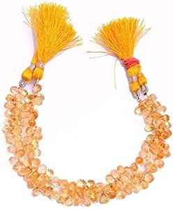 Jaipur Gems Mart AAA + Citrine Gemstone 5x8mm-6x9mm Perlas Briolette en Forma de lágrima | Gotas facetadas Sueltas de Piedras Preciosas semipreciosas de Citrino Natural | Hebra de 8 Pulgadas