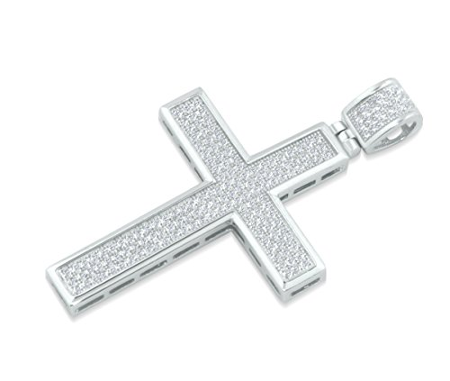 Midwest Jewellery Mens Small Cross Pendant 45mm Tall Sterling Silver With CZ Iced Out Cross - Sterling Out Cross Silver