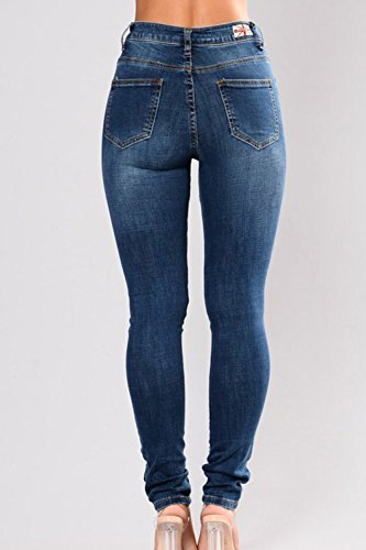 Rose Denim Darkblue1 Ricamati Donne Attillati Alta Jeans Yacun Strappata Le Vita 4Ax6nw