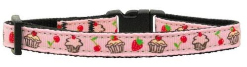 Cupcakes Nylon Ribbon Collar Light Pink Cat Safety (24 Pack) [Misc.]