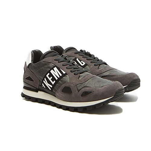 Zapatos Hombre Sneaker BIKKEMBERGS BKE 108524 Fend Er 738 Suede Nylon Antracithe