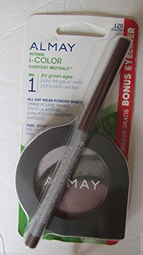 Almay Intense I-Color All DayWear Powder Shadow w/BONUS EyeLiner #120 Greens