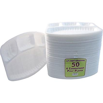 Party & Paper Solutions 50 bandejas de sección de poliestireno (4 Secciones), Ideal