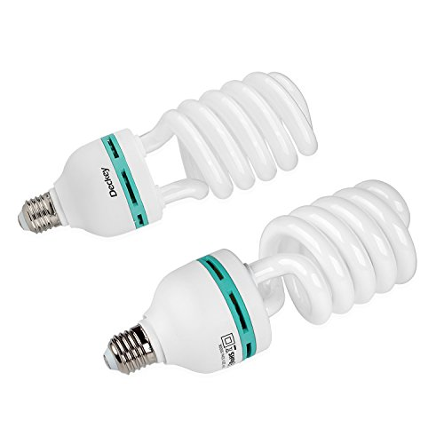 Deckey 2x 55W Fotolampe Glühlampe Fotoleuchte Tageslichtlampe Dauerlicht Energiesparlampe E27 Birne für Fotostudio Studioleuchte