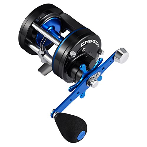 Piscifun Chaos Round Baitcasting Reel Reinforced Metal Body Baitcaster Conventional Saltwater Fishing Reels 60 Left Handed - Conventional Saltwater