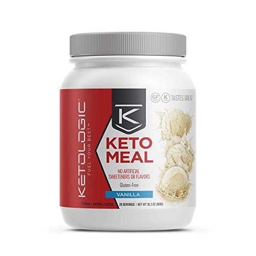 KetoLogic Keto Meal Replacement Shake with MCT, Vanilla | Low Carb, High Fat Keto Shake | Promotes Weight Loss & Suppresses Appetite | 20 Servings