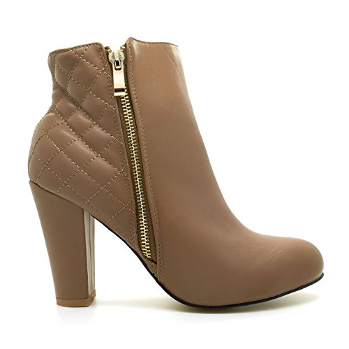 Zip para Chunky Mediano mujer Khaki Nuevo Block UK mujer para Zapato Botines Alto Chelsea Up Heel x5Fq4qw8P