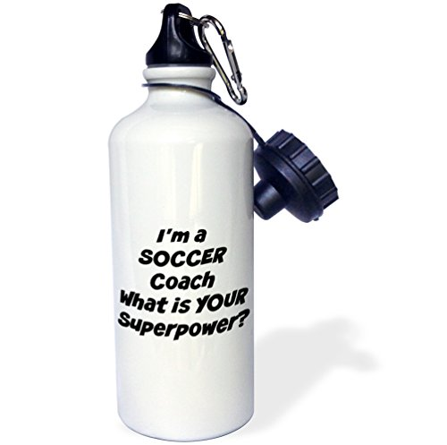 3dRose wb_216410_1 Im a soccer coach, what's your super power Sports Water Bottle, Multicolored, 21 oz by 3dRose