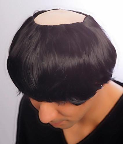 Para hombre Cosplay negro monje peluca calva + peluca de pelo de goma en la parte