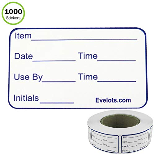 Evelots Food labels-Freezer-Fridge-Large Writable Surface-1000 Sticker Roll (Restaurant Food Labels)