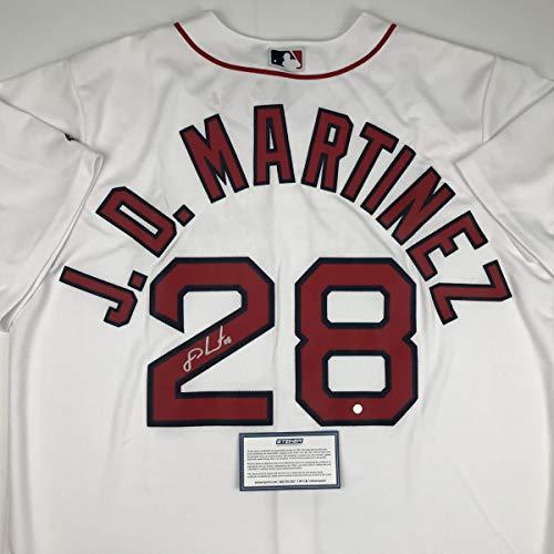 Autographed/Signed JD J.D. Martinez Boston White Baseball Jersey Steiner Sports COA (Martinez Signed Jersey)