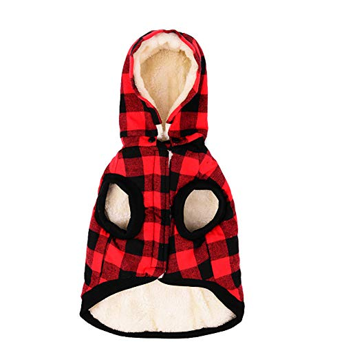 Tineer Large Dog Clothes Pet Sweater Dog Grid Clothing Warm Removable Puppy Cute Hooded Coats Plaid Jacket Hoodies 6 Sizes (XXXL, Red)