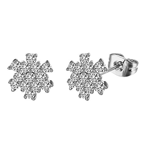 Amazon Lightning Deal 100% claimed: Yoursfs Silver-tone Sparkly Crystal Snowflake Cubic Zirconia Stud Earrings for Girls Xmas Gift