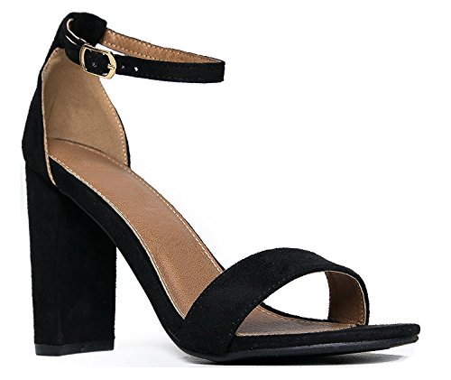 OLIVIA K Women's Strappy Chunky Block High Heel - Formal, Wedding, Party – Simple Classic (Black Suede Leather Classic Pumps)