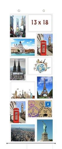 Fotovorhang 13 x 18 cm mit 12 Taschen Hochformat und Querformat Foto Bilder Postkarten Format Fotowand Fotogalerie Fototaschen Fotohalter Taschenvorhang Fotos