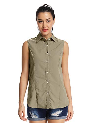 (Women's Quick Dry Vest Sun UV Protection Sleeveless Shirts for Hiking Camping Fishing Sailing #5056,Khaki,XL)