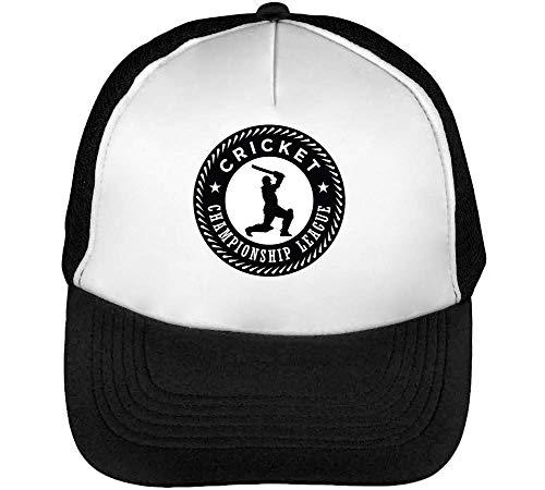 Hombre Cricket Sport Championship Beisbol Blanco Negro Snapback League Badge Gorras XqpBR