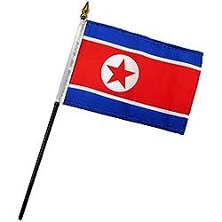"Quality Standard Flags One Dozen North Korea Stick Flag, 4 by 6"""
