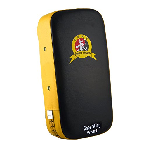 Cheerwing PU Leather Punching Kick Target Pad Arm Shield Focus Training Target for Karate Muay Thai Kick Boxing UFC MMA Sanda (Yellow)