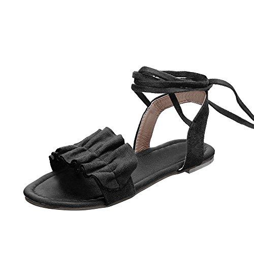 Nevera Ladies Cross Tie Up Open Toe Ankle Strap Flat Sandals for Women Black