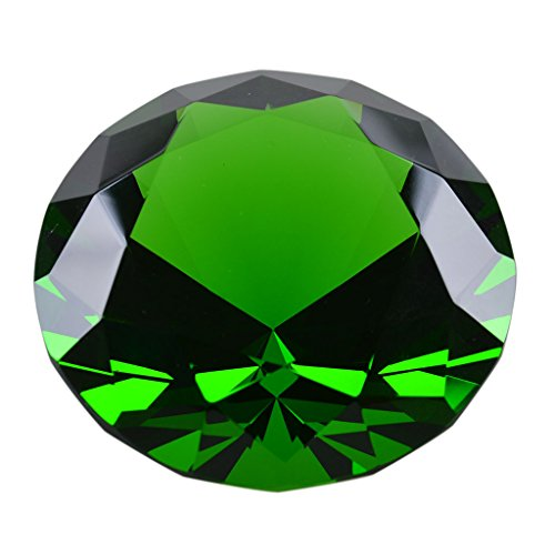"LONGWIN 50mm (2"") Crystal Faceted Diamond Paperweight Wedding Favor Home Decor (Green)"