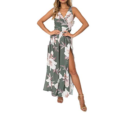 Women High Split Wide Leg Jumpsuit Boho Digital Print Pants Backless Summer Casual -