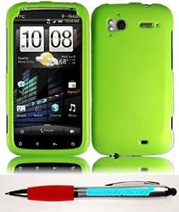 Quaroth - Accessory Factory(TM) Bundle (the item, 2in1 Stylus Point Pen) For HTC Sensation 4G Rubberized Cover Case - Neon...