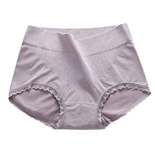JIUDASG Underwear Women Panties High Waist Underpant Control Ladies Brief Purple