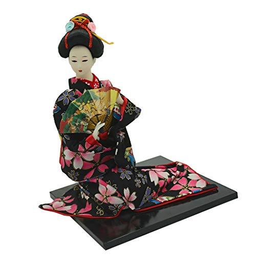 Geisha Doll Costume (CUTICATE Delicate Japanese Samurai Kimono Doll with Fan, Geisha Oriental Doll Craft Model Home Decoration Collection,)