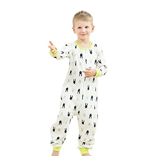Sunnycows Big Kids Onesie Pajamas Boys Sleepwear One Piece Pajamas Jumpsuit for Children Size 3T-10T (8T, Light Green/Cartoon)