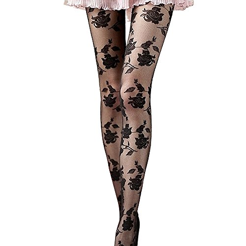 (general3 Women Sexy Stockings Hosiery Tight Sheer Rose Floral Panty Hose Socks Pantyhose (Black))