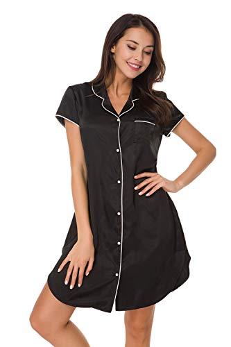 Alcea Rosea Womens Nightgown Sleep Shirt Sleep Dress Boyfriend Nightshirt Short Sleeve Button-up Collar Pajamas S-XXL