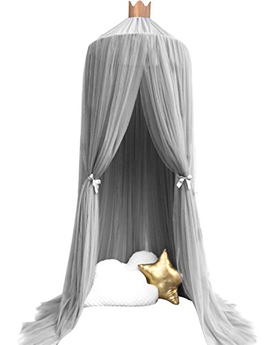 Dealgadgets Dome Bed Canopy Kids Play Tent Mosquito Net for Baby Kids Indoor Outdoor Playing Reading (Gray)