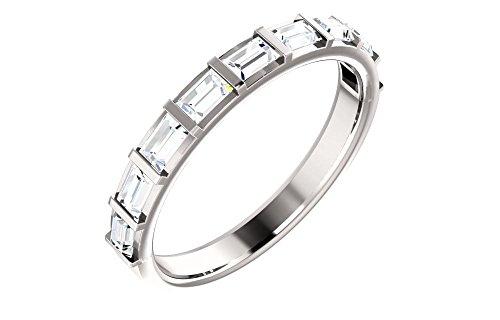 (FB Jewels 14k White Gold 3/4 CTW Diamond Straight Baguette Anniversary Wedding Ring Band)