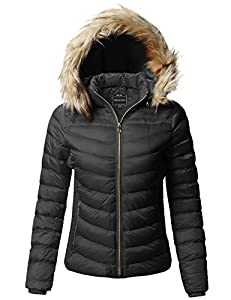 Made by Emma Quilted Puffer Jacket with Detachable Faux Fur Hood Black M