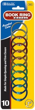 BAZIC Anéis de livro de metal, 2,5 cm, sortidos, 10 por pacote