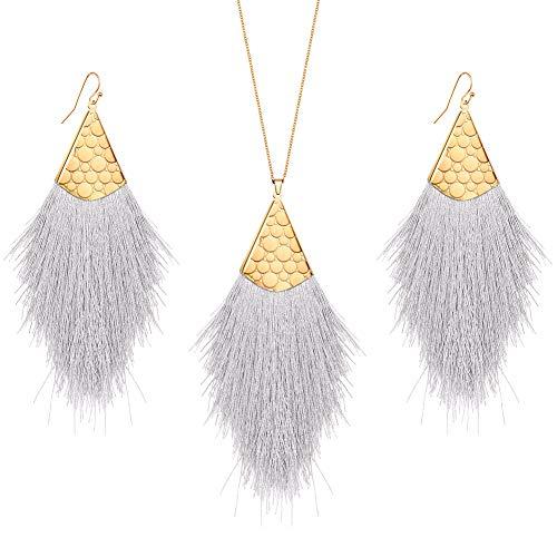 MINHIN Valentines Tassel Drop Jewelry Sets, Bohemian Silky Thread Fan Tassel Statement Drop Earrings Necklace - Feather Shape Strand Fringe Hook - Necklace Earrings Fringe