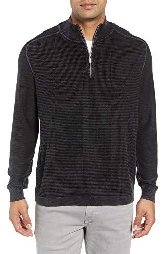Tommy Bahama Island Tide Half Zip Sweater (Color: Black, Size -