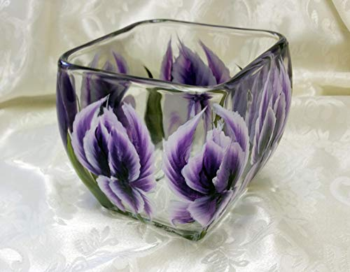 (Hand Painted Square Glass Candy Dish With Iris)