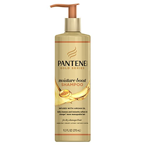 Pantene Gold Series Argan Oil, Sulfate Free, Moisture Boost Shampoo, For Natural And Curly Textured Hair, 9.1 FL OZ (Series Uptown)