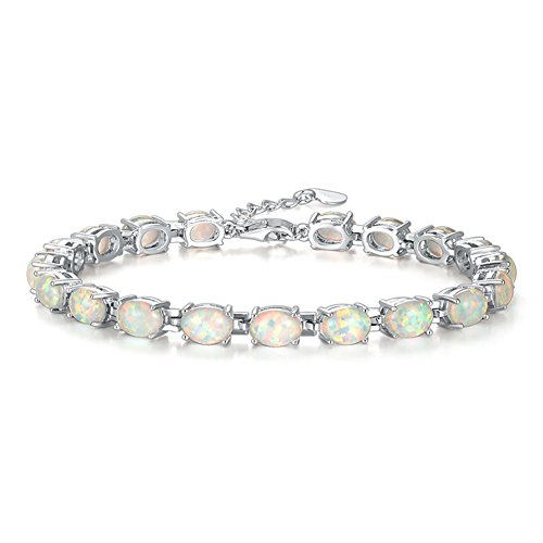 CiNily Rhodium Plated White Fire Opal Women Jewelry Wedding Gift Gemstone Bracelet 8.5""