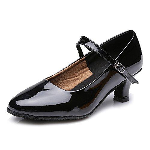 HROYL Zapatos de baile/Zapatos latinos de PU mujeres ES-MD225 Negro