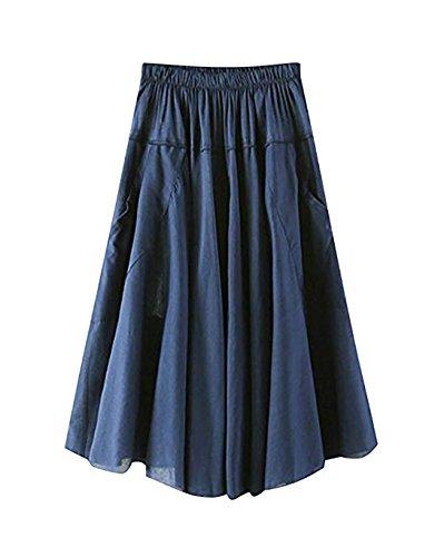 Casual pour avec Jupe Taille Haute L' Pliss 3 Longueur t Jupe Genou Color Poche Femme zqTIIP